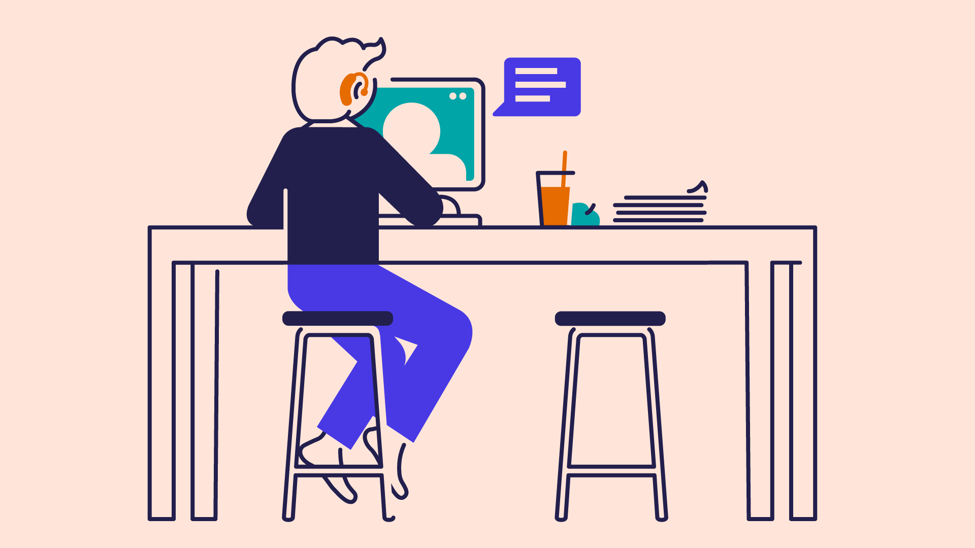 an illustration of a student with a hearing aid sitting at a desk